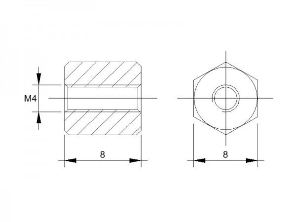 Stahl-Abstandsbolzen BM mit Innengewinde, Gewinde M4, SW 8 und Länge 8
