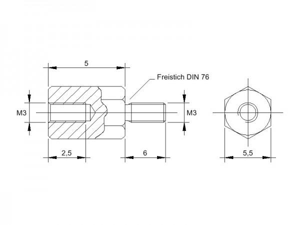 Stahl-Abstandsbolzen AM mit Innen-/Außengewinde, Gewinde M3, SW 5,5 und Länge 5