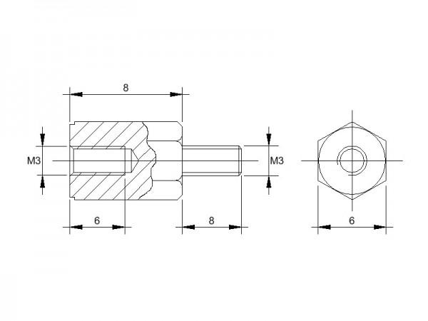 Kunststoff-Abstandsbolzen AM mit Innengewinde und Aussengewinde, Gewinde M3, SW 6 und Länge 8