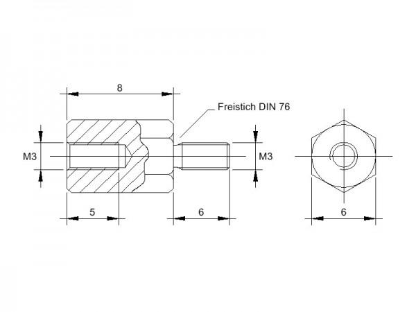 Stahl-Abstandsbolzen AM mit Innen-/Außengewinde, Gewinde M3, SW 6mm und Länge 8