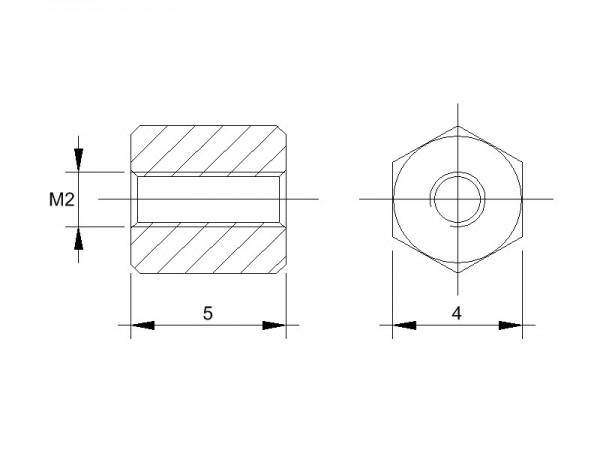 Messing-Abstandsbolzen BM mit Innengewinde, Gewinde M2 , SW 4 und Länge 5