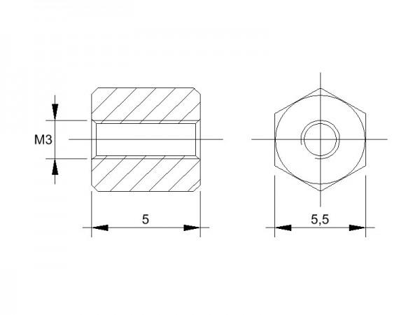 Messing-Abstandsbolzen BM mit Innengewinde, Gewinde M3 , SW 5,5 und Länge 5