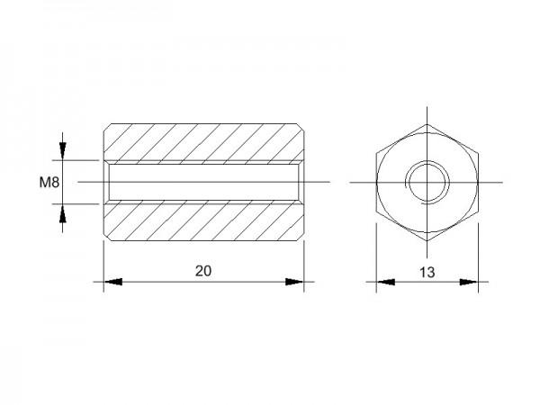 Stahl-Abstandsbolzen BM mit Innengewinde, Gewinde M8, SW 13 und Länge 20