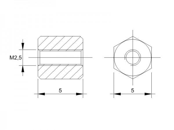 Messing-Abstandsbolzen BM mit Innengewinde, Gewinde M2,5  , SW 5 und Länge 5