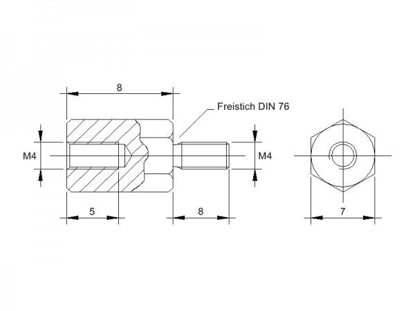 Stahl-Abstandsbolzen AM mit Innen-/Außengewinde, Gewinde M4, SW 7 und Länge 8