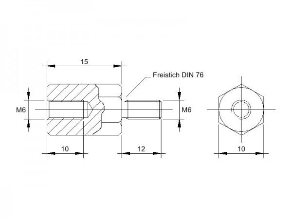 Stahl-Abstandsbolzen AM mit Innen-/Außengewinde, Gewinde M6, SW 10 und Länge 15