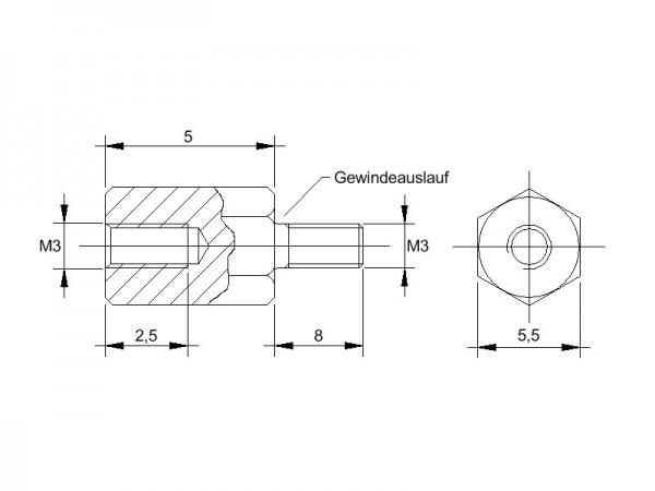 Messing-Abstandsbolzen AM mit Innengewinde und Aussengewinde, Gewinde M3 , SW 5,5 und Länge 5